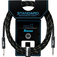 IBANEZ SI20 20ft Guitar Cable - Woven Black/green