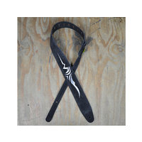 COLONIAL LEATHER Silver Celtic Embroidered Black Suede Guitar Strap