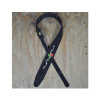 COLONIAL LEATHER Rose & Barbed Wire Embroidered Black Suede Guitar Strap