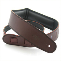 DSL 2.5 Inch Padded Garment Saddle Brown/Black Leather Guitar Strap