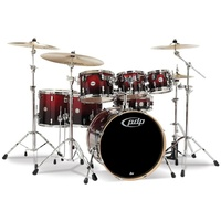 PDP Concept Maple 7 Pce Red to Black Sparkle Drum Kit