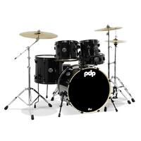 PDP Mainstage 5 Pce and Stagg AXK 3pc Cymbal Pack Metallic Black Drum Kit