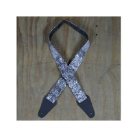 COLONIAL LEATHER Black & White Aboriginal Art Webbing Guitar Strap