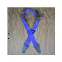 COLONIAL LEATHER Blue Webbing With Heavy Duty Leather Ends Guitar Strap