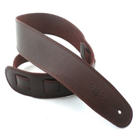 DSL 2.5 Inch Single Ply Saddle Brown/Brown Stitch Leather Guitar Strap