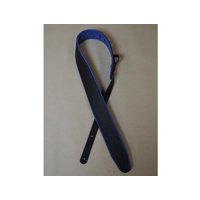 "COLONIAL LEATHER 2.5"" Padded Upholstery Leather Guitar Strap Black & Blue"