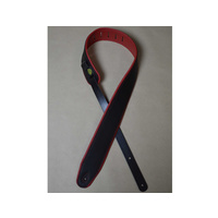 "COLONIAL LEATHER 2.5"" Padded Upholstery Leather Guitar Strap Black & Red"