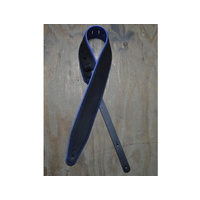 "COLONIAL LEATHER 3"" Padded Upholstery Leather Guitar Strap Black & Blue"