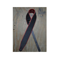 "COLONIAL LEATHER 3"" Padded Upholstery Leather Guitar Strap Black & Red"