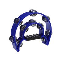 MANO PERCUSSION Handheld Tambourine Blue ABS w/Steel Jingles TMP13BL